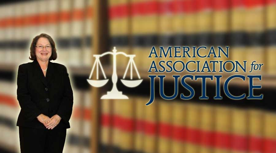 Attorney Diane Marger Moore and the American Association for Justice logo
