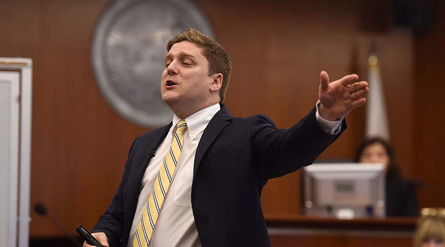 Plaintiff attorney Brent Wisner during his opening statement to the Johnson trial jury