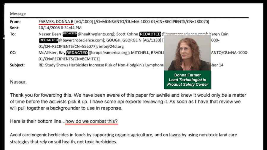 "Donna Farmer's email stating ""how do we combat this?"""