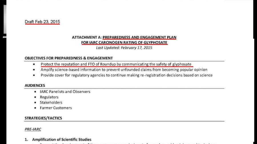 """Preparedness and engagement plan for IARC carcinogen rating of glyphosate."" document"