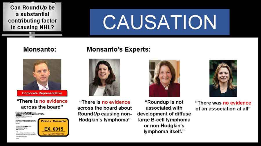 Images of Monsanto's experts stating that there is no evidence of RoundUp causing NHL