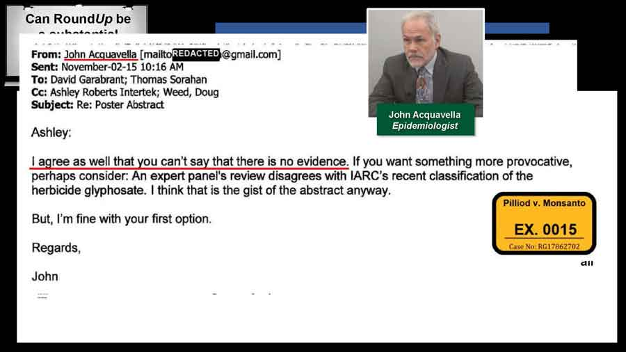 Email from Dr. Acquavella stating that he agrees there is no evidence