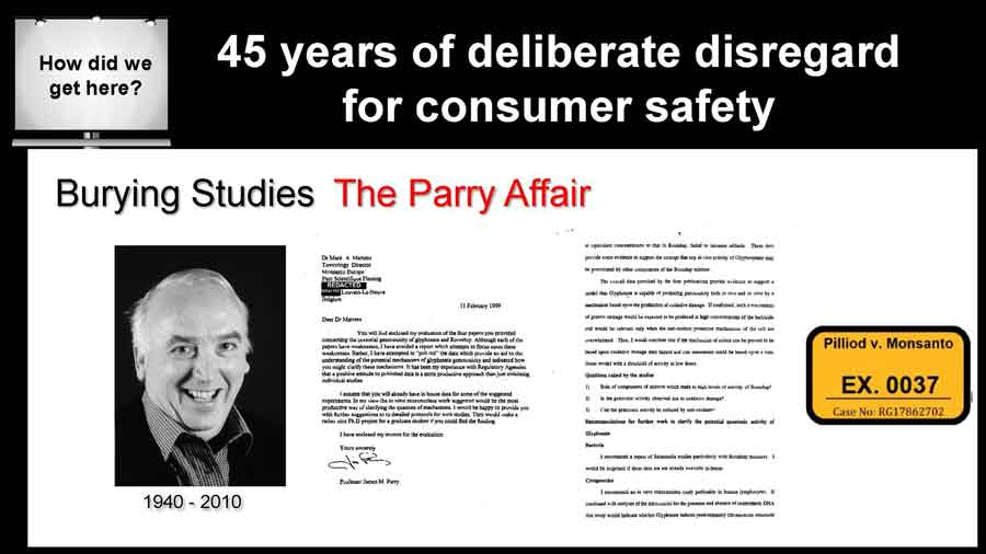 Dr. James Parry's first report dated back to Feb. 1999