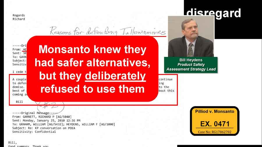 Email proving that Monsanto knew they had safer alternatives, but they deliberately refused to use them.